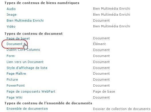 Types de contenu Document avec type surligné