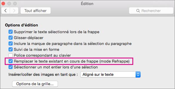 L'option Remplacer le texte existant en cours de frappe (mode Refrappe) est mise en évidence dans la boîte de dialogue Modifier les préférences Word.