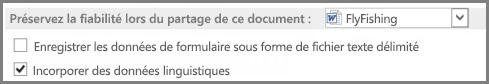 Word2013 conserver les options de fidélité