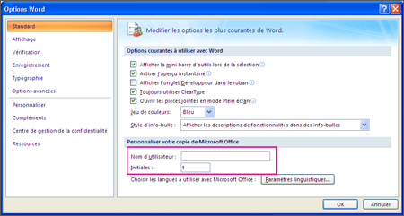 Options Personnaliser Word 2007
