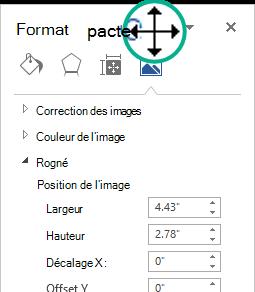 Le volet Format de l'image dans un état déconnecté: une fenêtre flottante