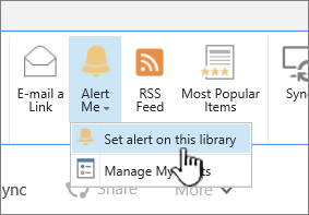 Onglet bibliothèque avec l'option définir l'alerte sur cette bibliothèque de mise en évidence