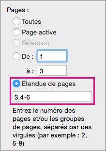 Imprimez des pages spécifiques et des plages de pages en les spécifiant dans l'option Étendue de pages.
