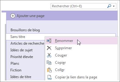 Cliquez avec le bouton droit sur un onglet de page pour attribuer un nouveau nom à votre page.