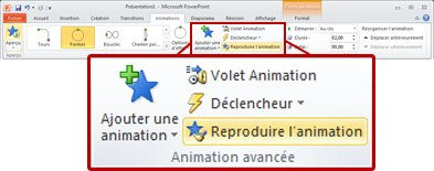 Onglet Animations dans le ruban PowerPoint 2010.
