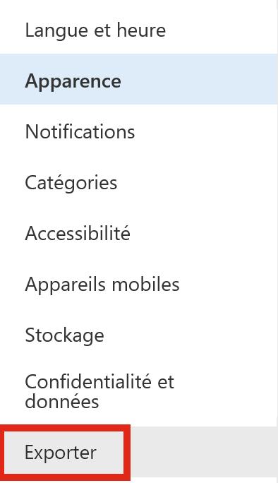 Capture d'écran illustrant l'option Exporter