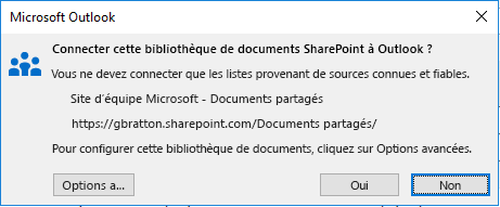 Connexion à une bibliothèque de documents SharePoint