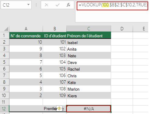 Erreur N/A dans la fonction RECHERCHEV lorsque la valeur de recherche est inférieure à la plus petite valeur dans la matrice