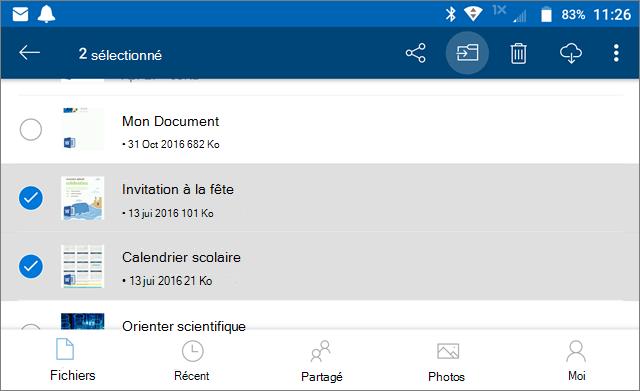 Déplacer des fichiers dans OneDrive
