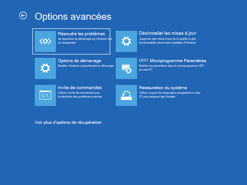 Écran « Options avancées » avec l'option « Réparation de démarrage » sélectionnée.