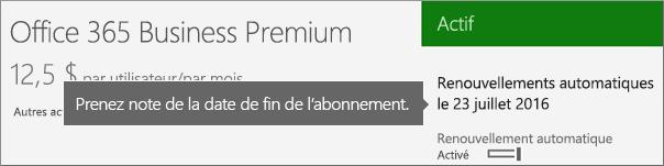 Capture d'écran montrant un abonnement actif avec l'option de renouvellement automatique activée. La date de renouvellement automatique est affichée.