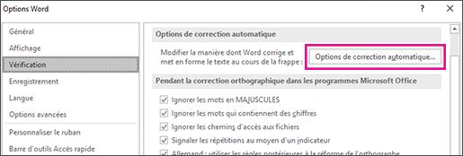 Bouton Options de correction automatique