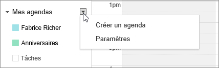 Sélectionner Mon calendrier, puis Paramètres