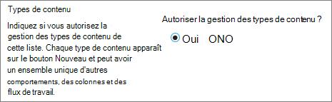 Autoriser la gestion du bouton de types de contenu sous Paramètres avancés