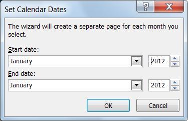 Définir un nouveau mois dans la boîte de dialogue Définir les dates du calendrier.