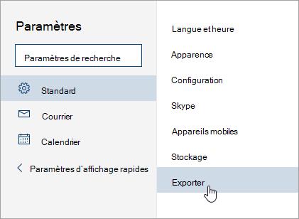 Capture d'écran du menu paramètres avec exporter la sélection