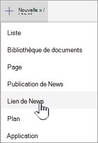 Sélectionner le lien Actualités dans le menu + nouveau