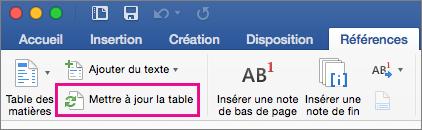 Onglet Références avec l'option Mettre à jour la table encadrée