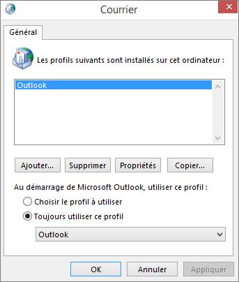 Feuille de propriétés du courrier utilisé pour ajouter ou supprimer un profil pour votre compte Outlook