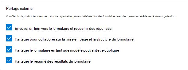 Paramètre d'administration de Microsoft Forms pour le partage externe