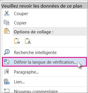 Cliquez avec le bouton droit et sélectionnez Définir la langue de la vérification.