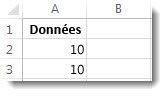 Données dans les cellules A2 et A3 dans une feuille de calcul Excel