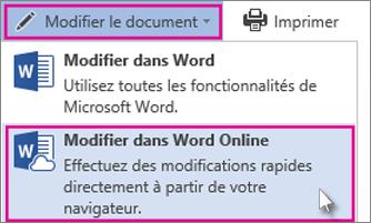 Modifier dans WordOnline