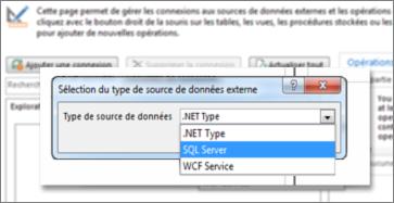 Capture d'écran de la boîte de dialogue Ajouter une connexion qui permet de choisir un type de source de données. Dans le cas présent, le type est SQLServer, qui permet d'établir la connexion à SQLAzure.