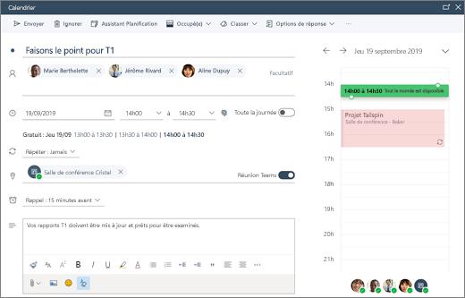 Planification d'une réunion dans Outlook sur le web