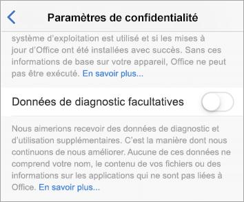 Capture d'écran de la bascule Données de diagnostic facultatives