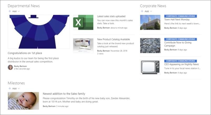 Exemple d'actualités sur un site Web de service