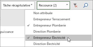 Capture d'écran de la liste déroulante Filtrer les ressources sur le tableau de tâches avec deux ressources sélectionnées
