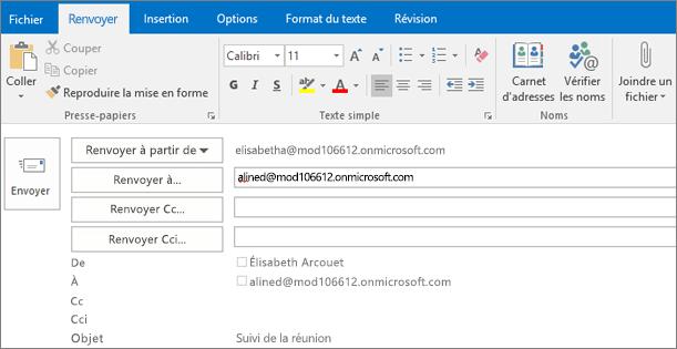 La capture d'écran affiche l'option Envoyer à nouveau pour un courrier électronique. Dans le champ Renvoyer à, l'adresse du destinataire a été fournie par la fonction de saisie semi-automatique.