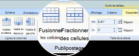 Fusionner ou fractionner des cellules de tableau