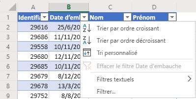 Exemple de tableau avec 4colonnes : ID, Date d'embauche, Nom et Prénom. Le menu Filtre automatique est ouvert pour la colonne Date d'embauche