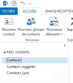 Sous Mes contacts, cliquez avec le bouton droit sur le dossier Contacts.