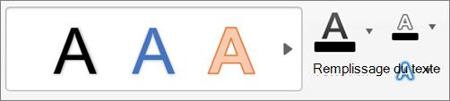 Cliquez sur remplissage du texte, contour du texte et effets du texte