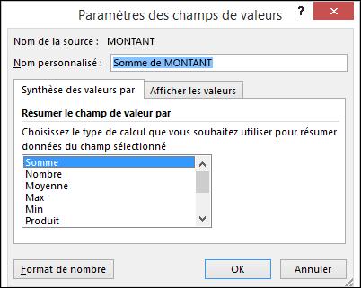 Boîte de dialogue Paramètres de champ de valeur Excel pour synthétiser les valeurs par les options