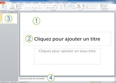 Espace de travail, ou mode Normal, dans PowerPoint2010 avec quatre zones étiquetées.