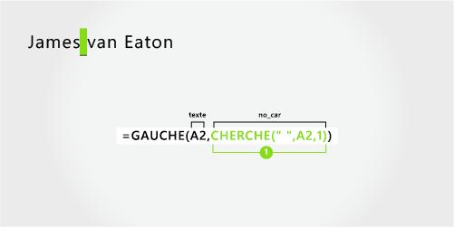 Formule pour séparer un prénom et un nom de famille composé de deux parties