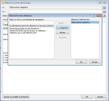 Vous pouvez sélectionner les destinataires d'une notification de tâche par courrier électronique dans la boîte de dialogue Sélectionner les utilisateurs