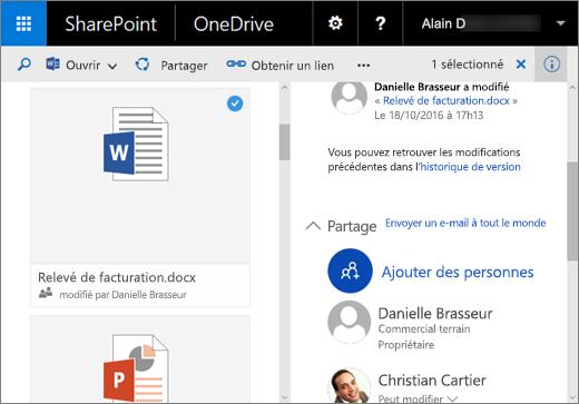 Capture d'écran du volet Détails dans OneDrive Entreprise dans SharePoint Server2016 avec Feature Pack1