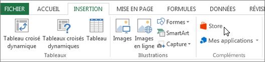 Capture d'écran d'une section de l'onglet Insertion dans le ruban Excel avec un curseur en pointant sur le magasin. Sélectionnez Store pour accéder à Office Store et rechercher des compléments pour Excel.