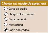 Exemples de contrôles de cases d'options