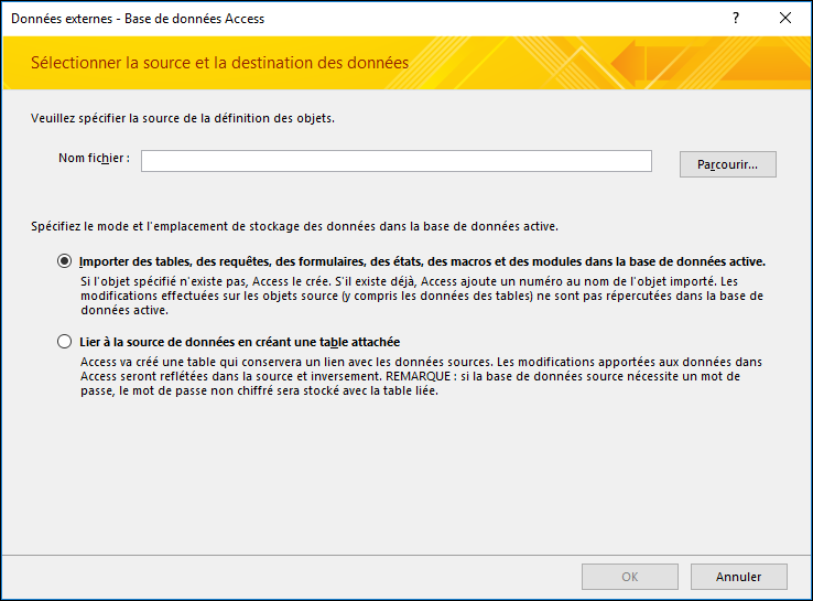 Capture d'écran de l'Assistant Importation Données externes - Base de données Access
