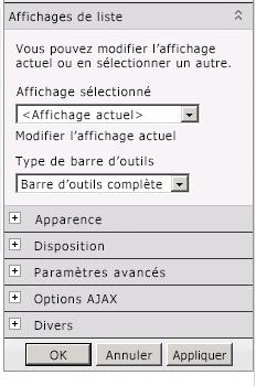 Menu Composant WebPart