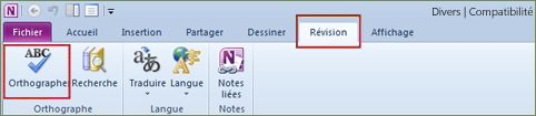 OneNote Spelling command