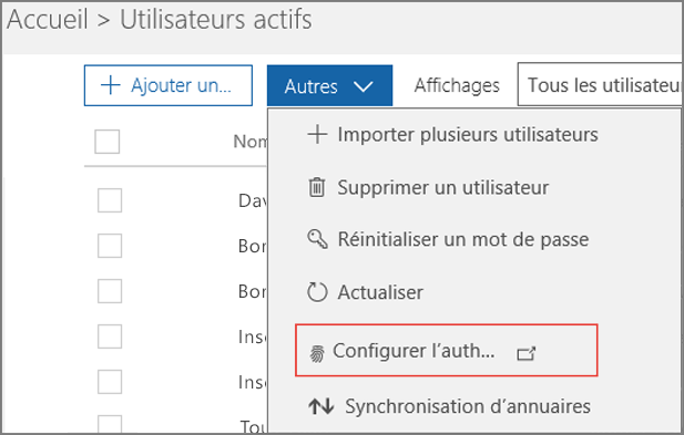 Configurez l'authentification multifacteur.