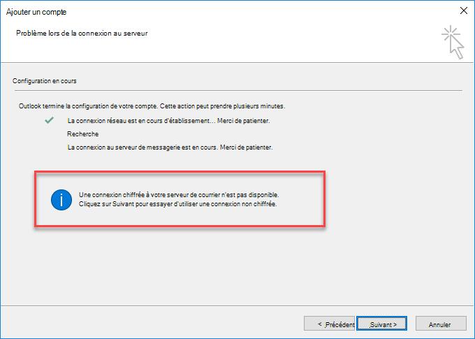 Erreur de connexion chiffrée à Outlook