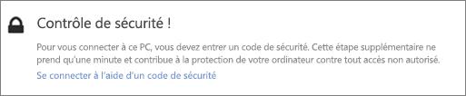Exemple de notification de l'interface utilisateur concernant le code de vérification d'une demande de récupération OneDrive